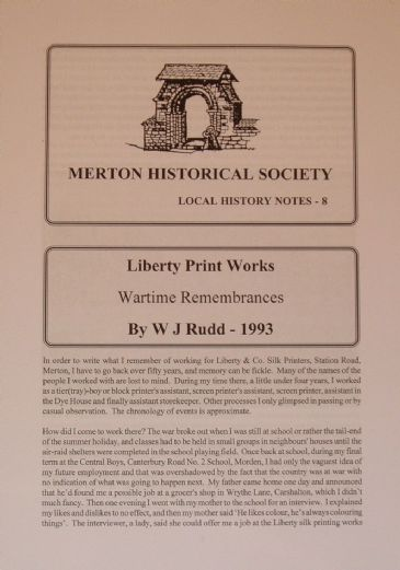 Liberty Print Works - Wartime Remembrances, by W.J. Rudd